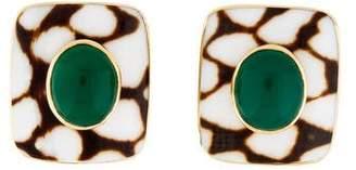Trianon 18K Shell & Dyed Chalcedony Earrings