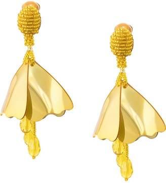 Oscar de la Renta Impatiens flower drop earrings