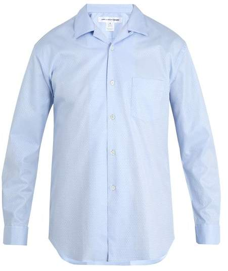 Geometric-jacquard patch-pocket cotton shirt