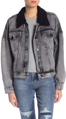 William Rast Faux Fur Denim Jacket