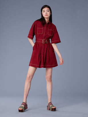 Diane von Furstenberg Short-Sleeve Button-Up Belted Cotton Shirtdress