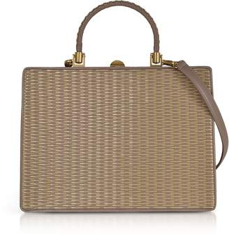 Rodo Taupe Woven Leather Squared Satchel Bag