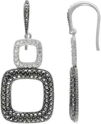 Lavish By Tjm Lavish by TJM Sterling Silver Crystal Square Drop Earrings