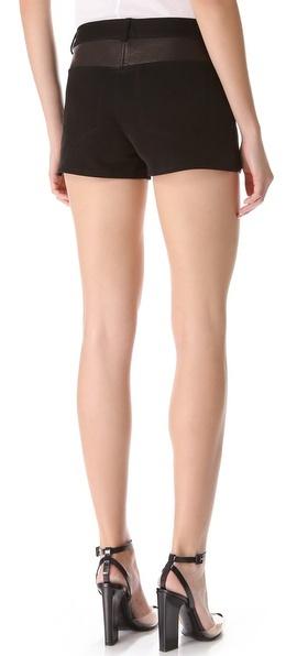 Alexander Wang Twill Shorts with Leather Yoke