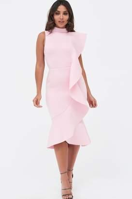 Lavish Alice Womens Extreme Frill Peplum Hem Scuba Midi Dress - Pink