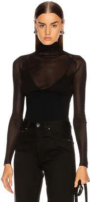 Proenza Schouler Long Sleeve Matte Turtleneck Top in Black   FWRD