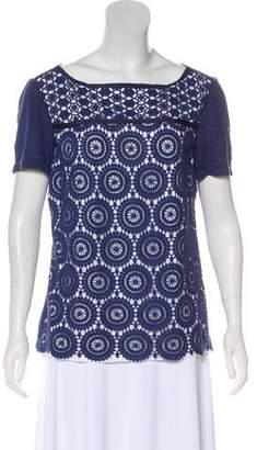 Tory Burch Linen Eyelet Lace T-Shirt