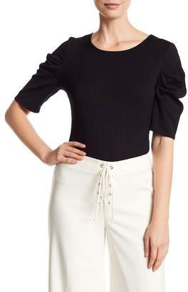 Vince Camuto Ribbed Gathered Sleeve Tee
