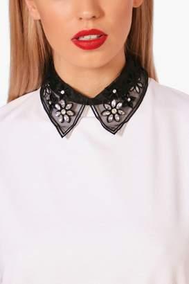 boohoo Yasmin Floral Embellished Collar