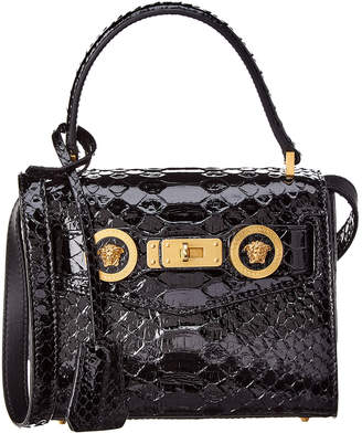 Versace Small Python Icon Leather Satchel