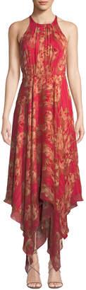 Halston Strappy Floral & Metallic Stripe Gown