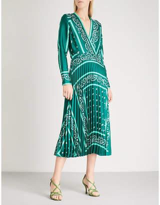 Sandro Pleated printed satin-twill midi dress