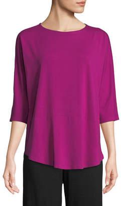Eileen Fisher 3/4-Sleeve Bateau-Neck Jersey Top