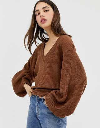Brave Soul harrio crew neck jumper with wide sleeves