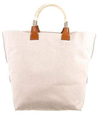 Hermes Toile Wood Handle Tote