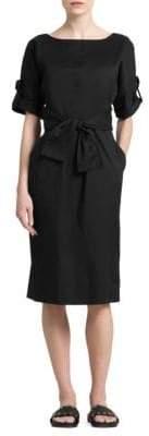 Donna Karan Tab-Sleeve Waist-Tie Dress