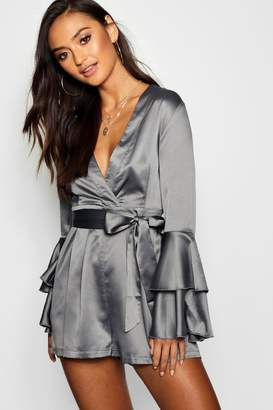 boohoo Petite Satin Wrap Sleeve Detail Woven Playsuit