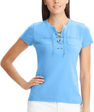 Chaps Women's Lace-Up Cotton Tee