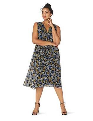 Anne Klein Women's Size Plus Printed V-Neck MIDI Dress