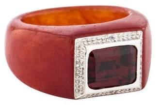 Ring 14K Garnet, Dyed Jadeite & Diamond
