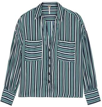 Free People Mad About You Striped Satin Shirt