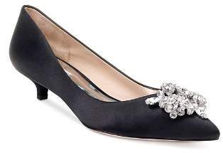 Badgley Mischka Women's Vail Pointed Toe Satin Kitten Heel Pumps
