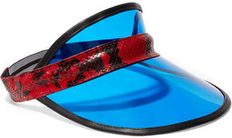 Rag & Bone Vegas Snake-effect Leather-trimmed Pvc Visor - Blue