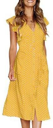 Assivia Womens Summer Short Sleeve V Neck Button Down Swing Midi Dress Pockets