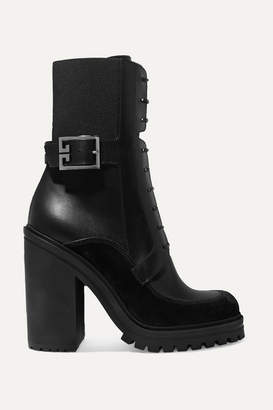 Givenchy Aviator Suede And Mesh-trimmed Leather Ankle Boots - Black