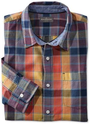 L.L. Bean L.L.Bean Signature Summer Indigo Madras Shirt, Long-Sleeve Plaid