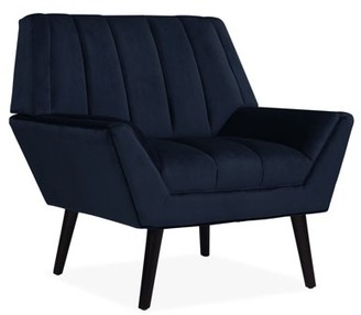 Harmon Homesvale Mid Century Modern Arm Chair in Navy Blue Velvet