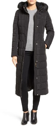 Women's Calvin Klein Long Down & Feather Fill Coat With Detachable Faux Fur Trim Hood $380 thestylecure.com