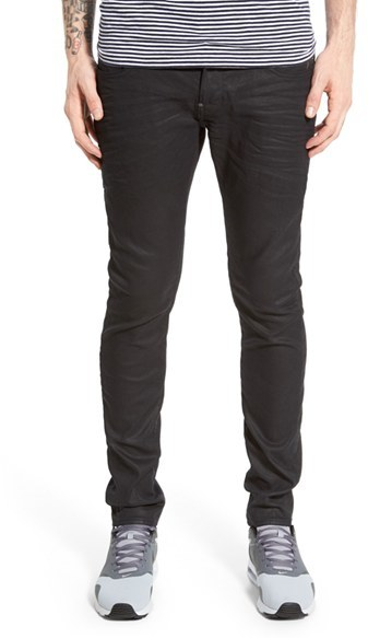 G Star Men's G-Star Raw 'Revend' Skinny Fit Coated Jeans