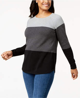 Karen Scott Colorblocked Cotton Sweater, Created for Macy's