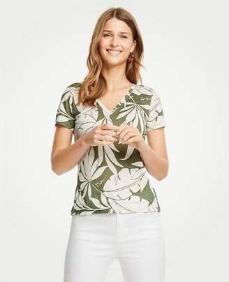 Ann Taylor Tropical Leaf Linen V-Neck Tee