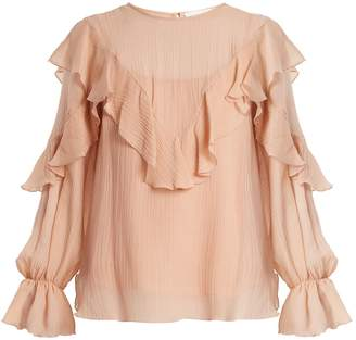 See by Chloe Ruffle-trimmed cotton and silk-blend top