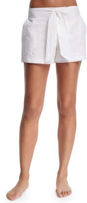 Flora Bella Aquila Embroidered Shorts W/Waist Tie, White