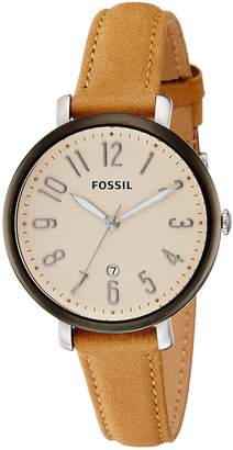 Fossil Women's ES4150 Jacqueline Three-Hand Date Tan Leather Watch