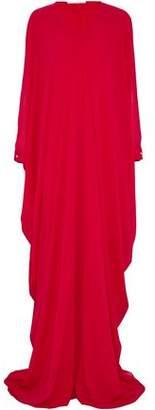 Oscar de la Renta Draped Printed Silk-Chiffon Gown