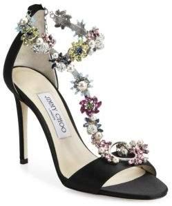 Jimmy Choo Reign Crystal-Embellished Satin T-Strap Sandals