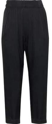 Enza Costa Cropped Satin Straight-Leg Pants