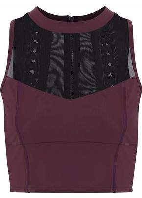 Cushnie et Ochs Cropped Mesh-Paneled Lace-Up Stretch Top