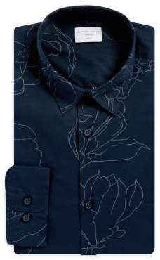 Selected Floral Cotton Button-Down Shirt