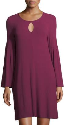 Neiman Marcus Bell-Sleeve Keyhole Jersey Dress, Plum