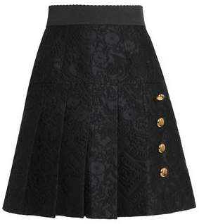 Dolce & Gabbana Button-Embellished Pleated Jacquard Mini Skirt