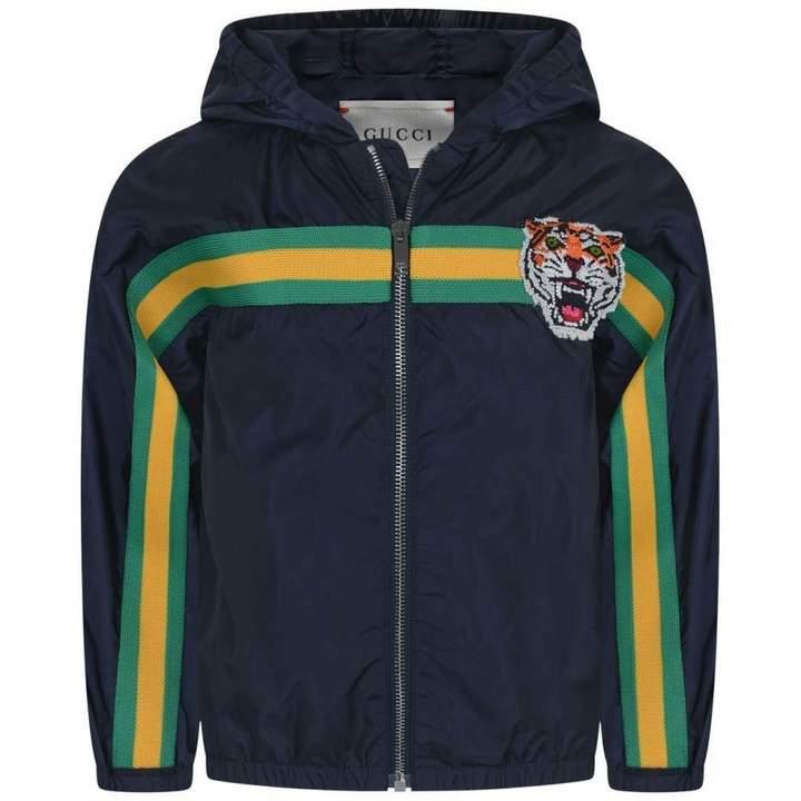GUCCI*EXCLUSIVE* Boys Navy Nylon Tiger Jacket