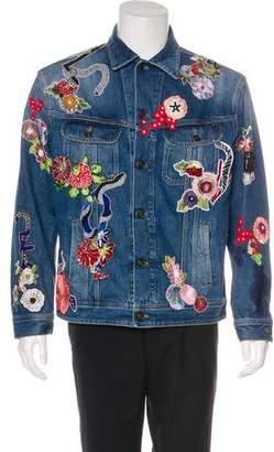 Saint Laurent 2017 Embroidered Denim Jacket w/ Tags