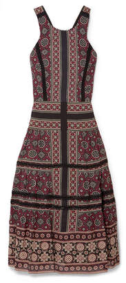 Sea Ezri Crochet-trimmed Printed Georgette Midi Dress - Burgundy