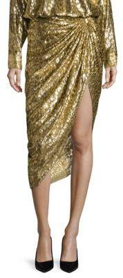 Michael Kors Collection Metallic Silk Sarong Skirt