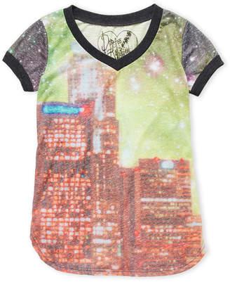 Dirtee Hollywood Girls 7-16) V-Neck Cosmic City Tee